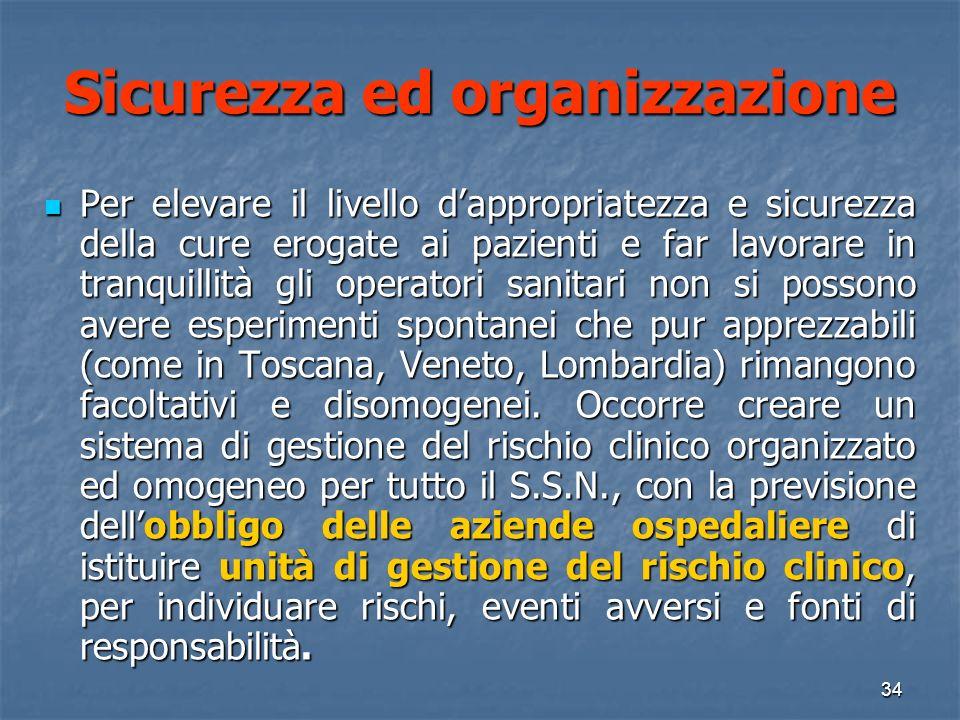 Sicurezza ed organizzazione