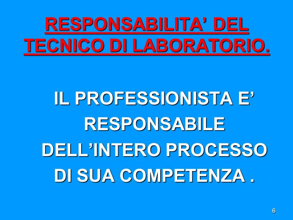 RESPONSABILITA' DEL TECNICO DI LABORATORIO.