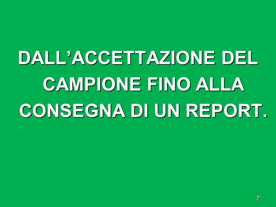 DALL'ACCETTAZIONE DEL CAMPIONE FINO ALLA CONSEGNA DI UN REPORT.