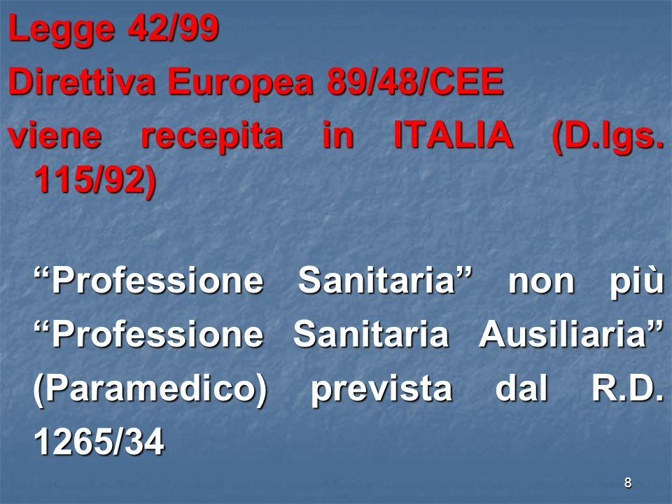 Direttiva Europea 89/48/CEE viene recepita in ITALIA (D.lgs. 115/92)