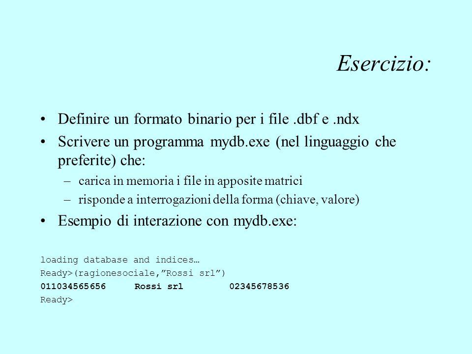 Esercizio: Definire un formato binario per i file .dbf e .ndx