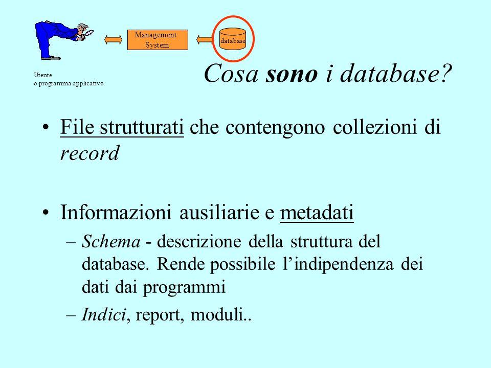 Management System. database. Utente. o programma applicativo. Cosa sono i database File strutturati che contengono collezioni di record.