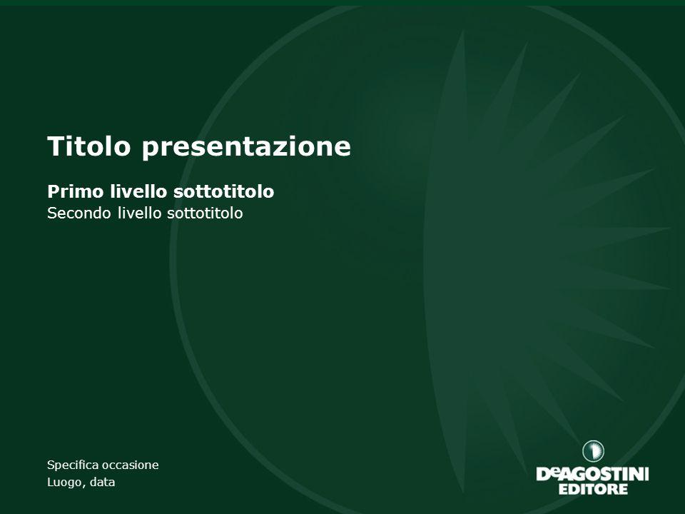 Titolo presentazione Primo livello sottotitolo