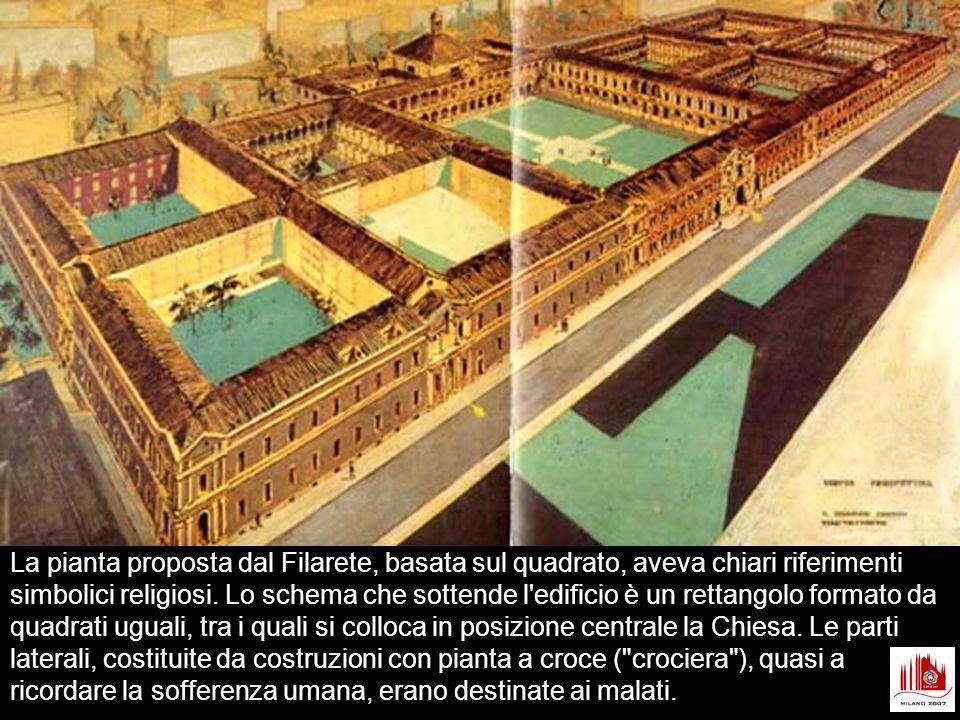 La pianta proposta dal Filarete, basata sul quadrato, aveva chiari riferimenti simbolici religiosi.