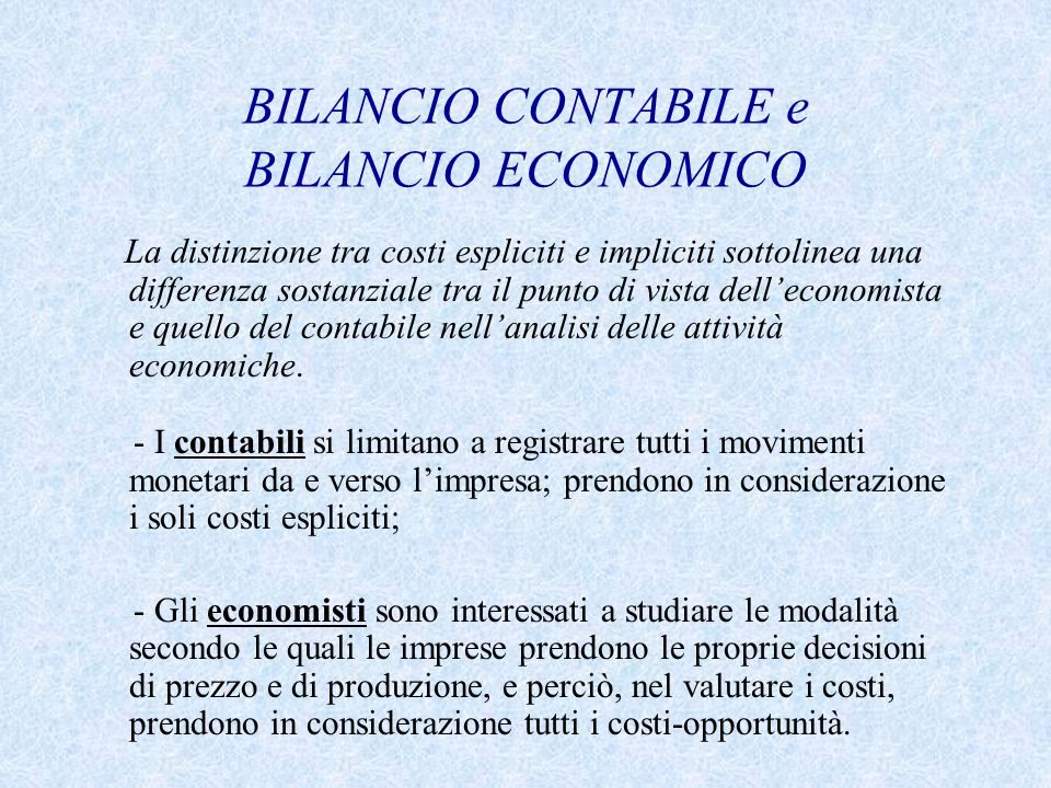 BILANCIO CONTABILE e BILANCIO ECONOMICO