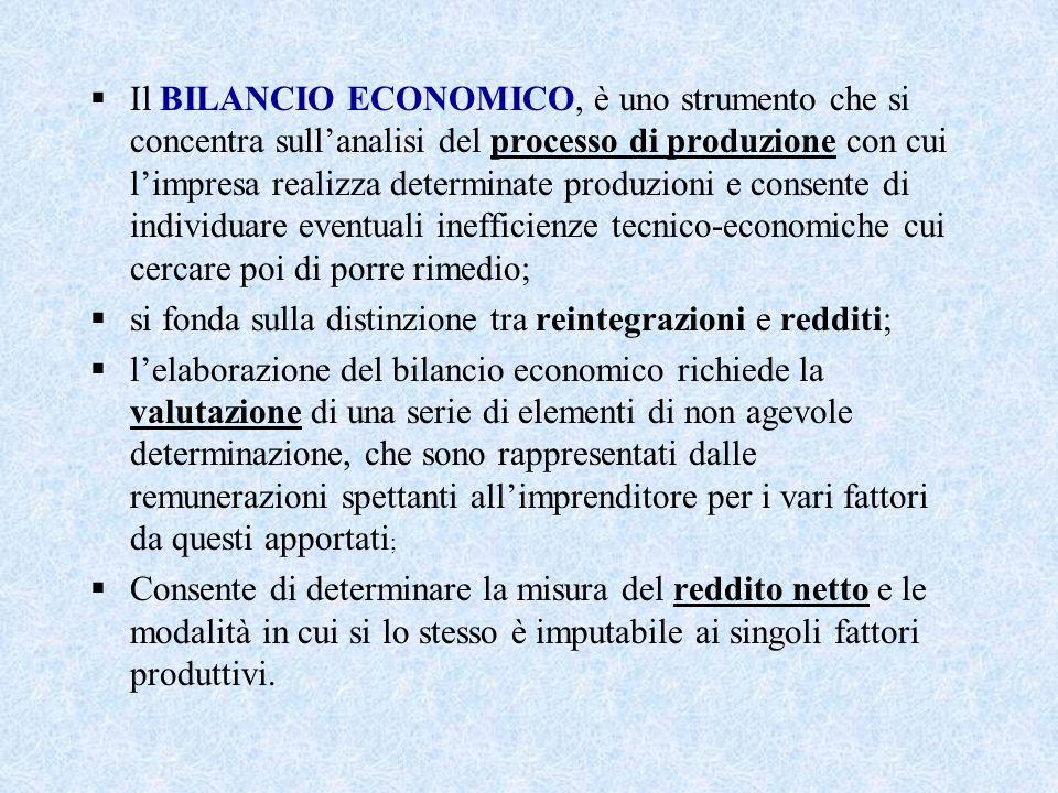 Il BILANCIO ECONOMICO, è uno strumento che si concentra sull'analisi del processo di produzione con cui l'impresa realizza determinate produzioni e consente di individuare eventuali inefficienze tecnico-economiche cui cercare poi di porre rimedio;