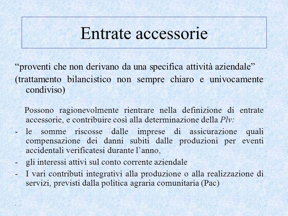 Entrate accessorie proventi che non derivano da una specifica attività aziendale