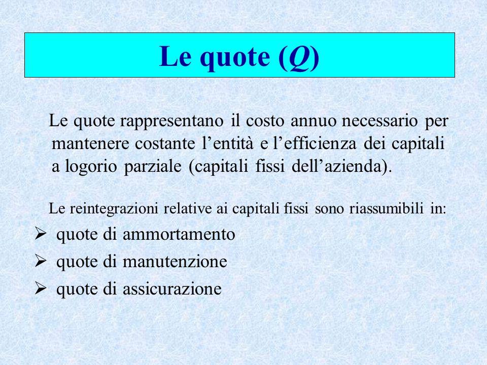 Le quote (Q) quote di ammortamento quote di manutenzione