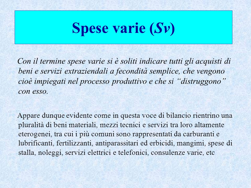 Spese varie (Sv)