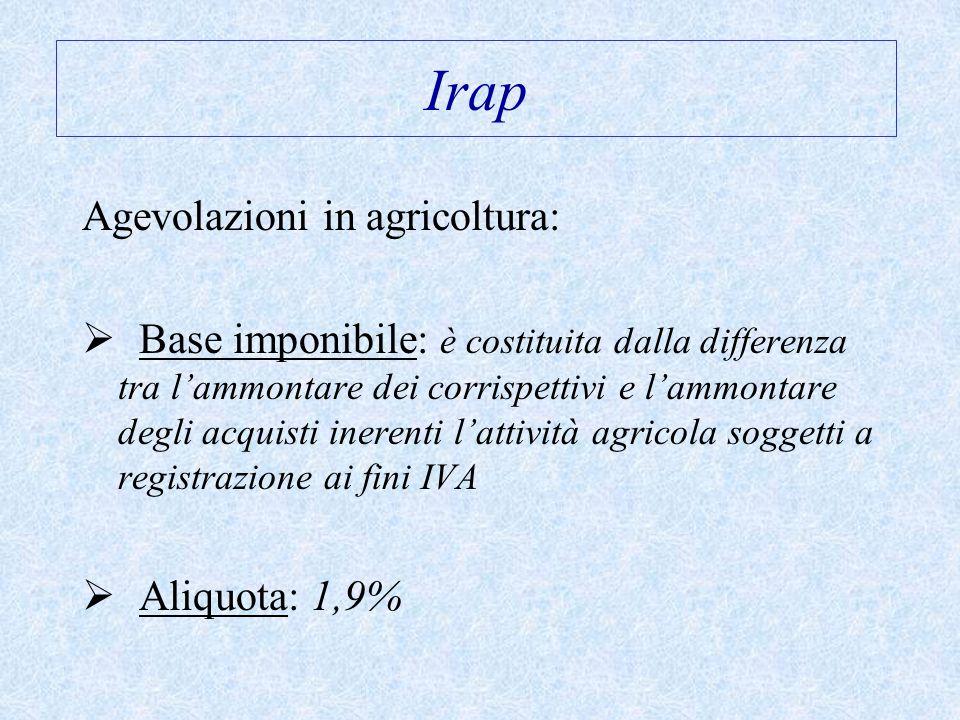 Irap Agevolazioni in agricoltura: