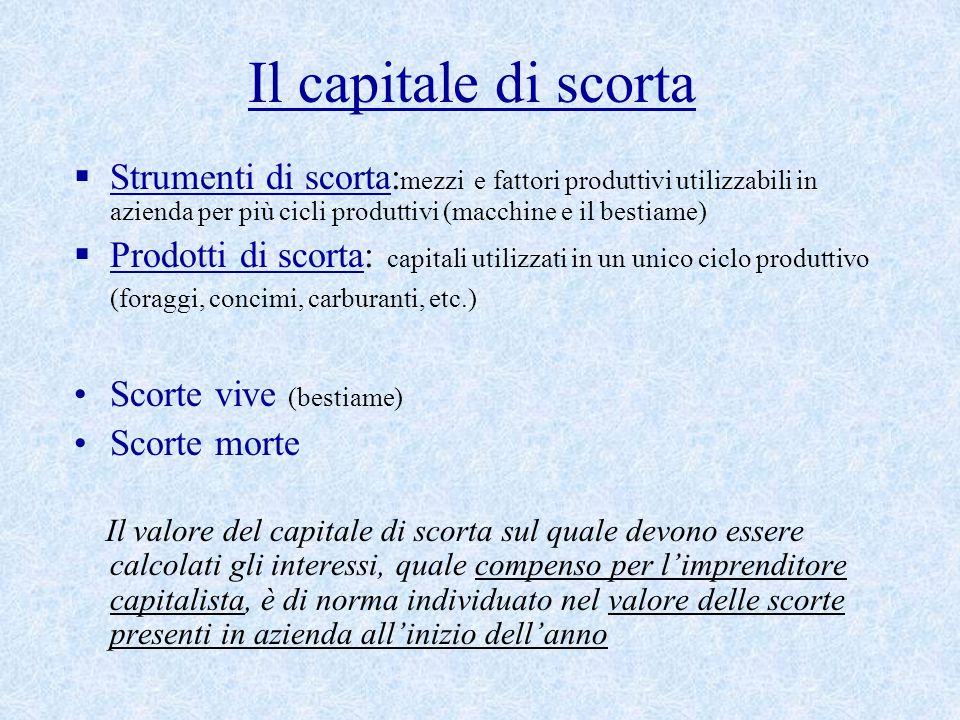 Il capitale di scorta Strumenti di scorta:mezzi e fattori produttivi utilizzabili in azienda per più cicli produttivi (macchine e il bestiame)