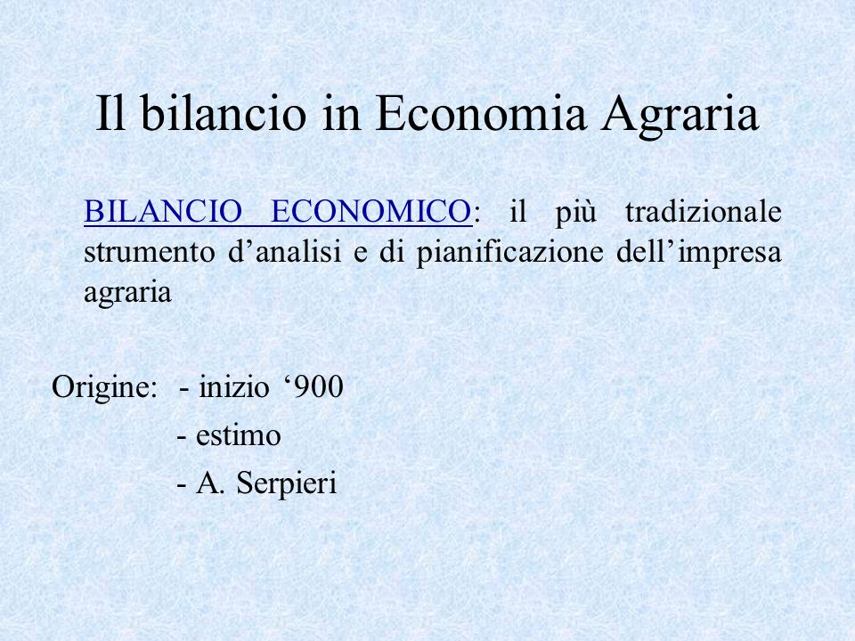 Il bilancio in Economia Agraria