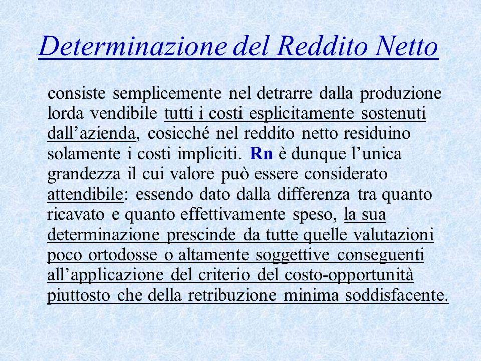 Determinazione del Reddito Netto