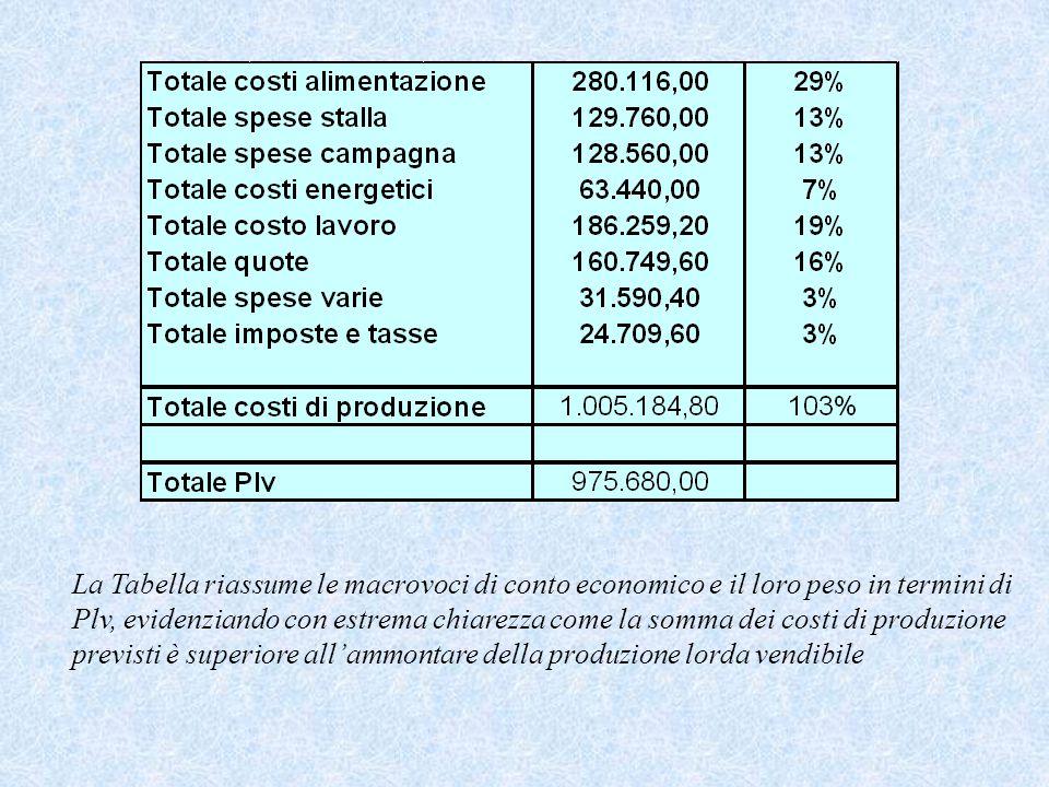 La Tabella riassume le macrovoci di conto economico e il loro peso in termini di Plv, evidenziando con estrema chiarezza come la somma dei costi di produzione previsti è superiore all'ammontare della produzione lorda vendibile
