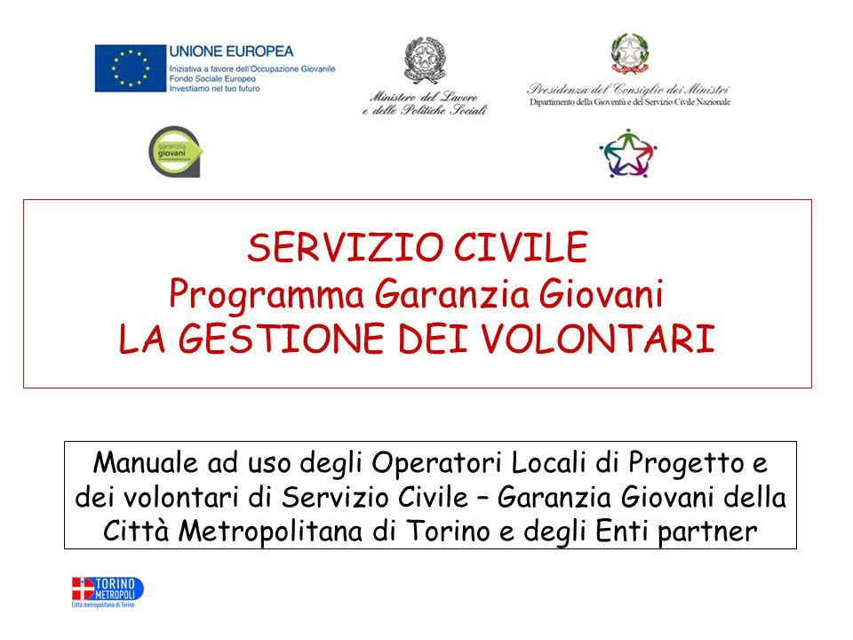 SERVIZIO CIVILE Programma Garanzia Giovani LA GESTIONE DEI VOLONTARI