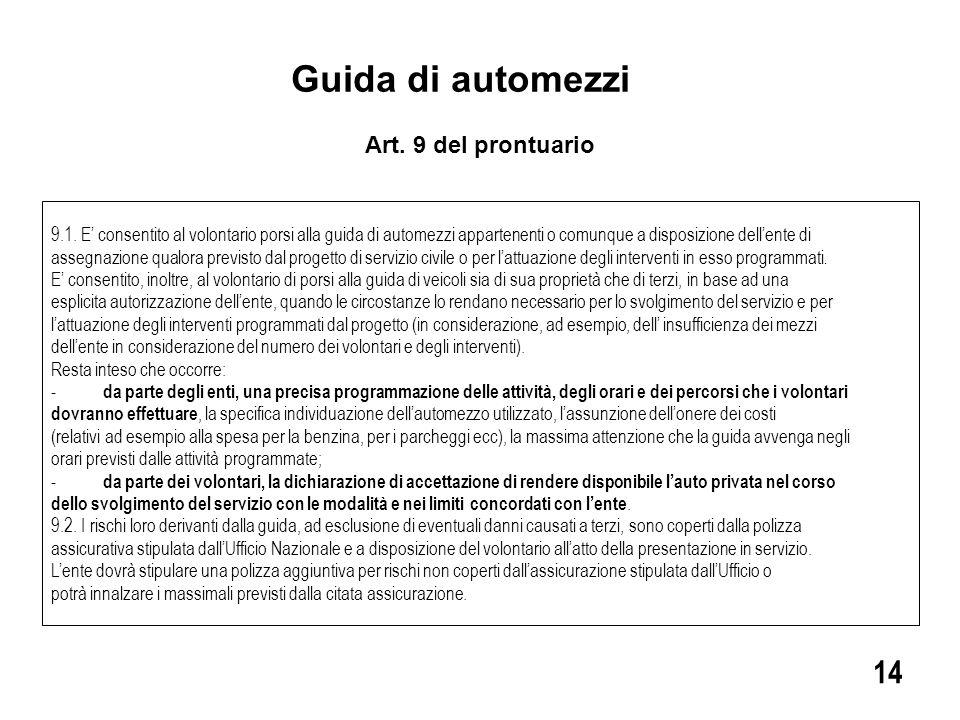 Guida di automezzi 14 Art. 9 del prontuario