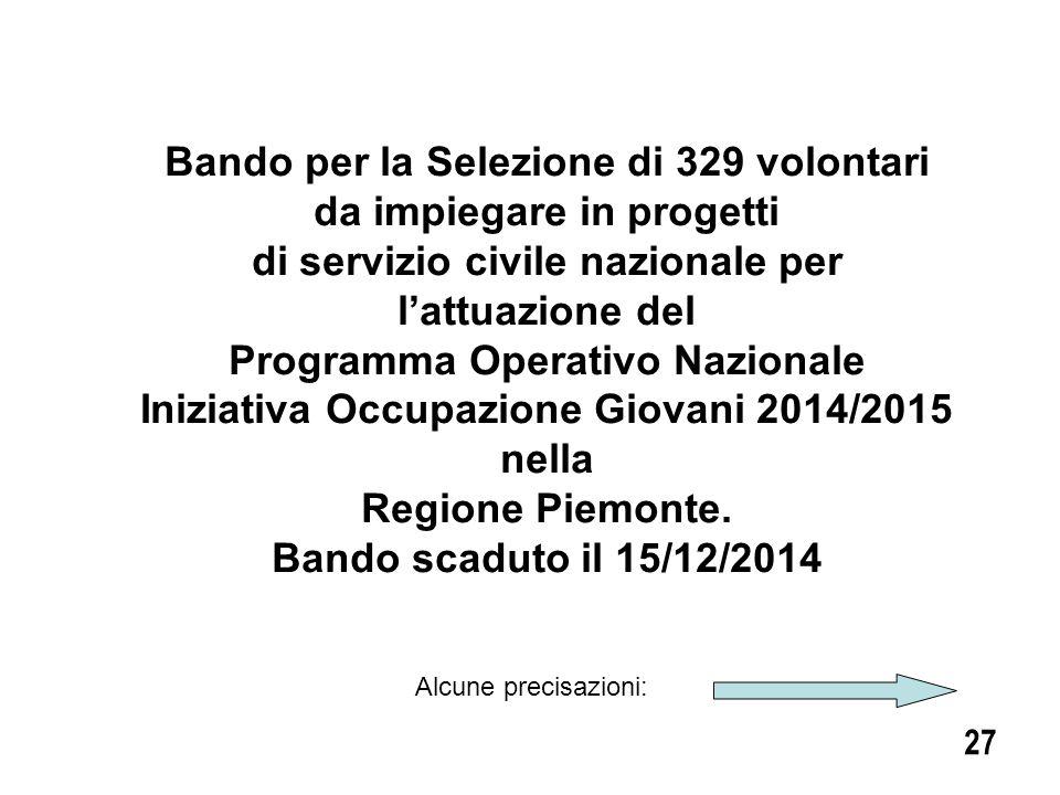 Bando per la Selezione di 329 volontari da impiegare in progetti
