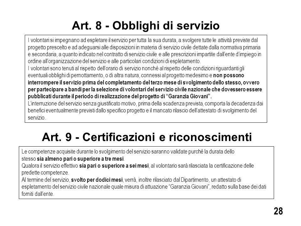 Art. 8 - Obblighi di servizio