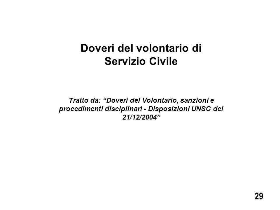 Doveri del volontario di Servizio Civile