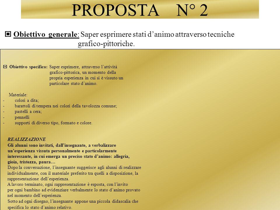 PROPOSTA N° 2  Obiettivo generale: Saper esprimere stati d'animo attraverso tecniche. grafico-pittoriche.