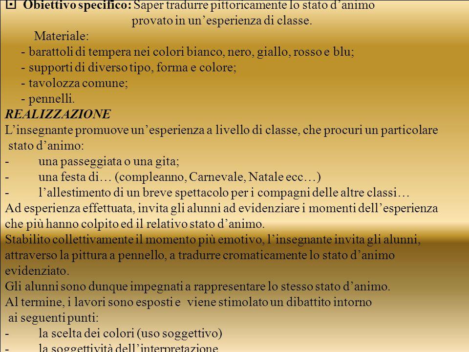  Obiettivo specifico: Saper tradurre pittoricamente lo stato d'animo