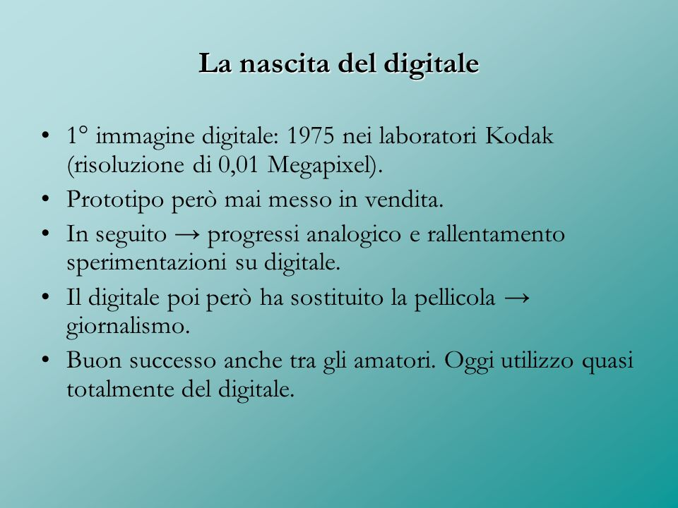 La nascita del digitale
