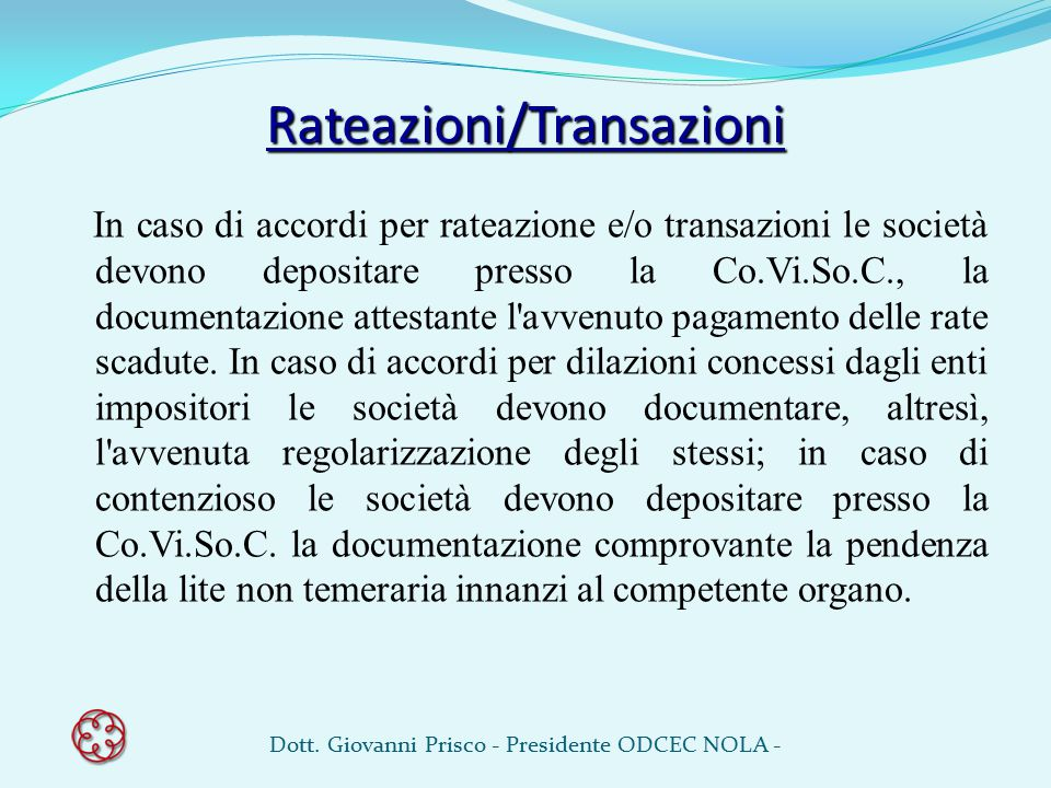 Rateazioni/Transazioni