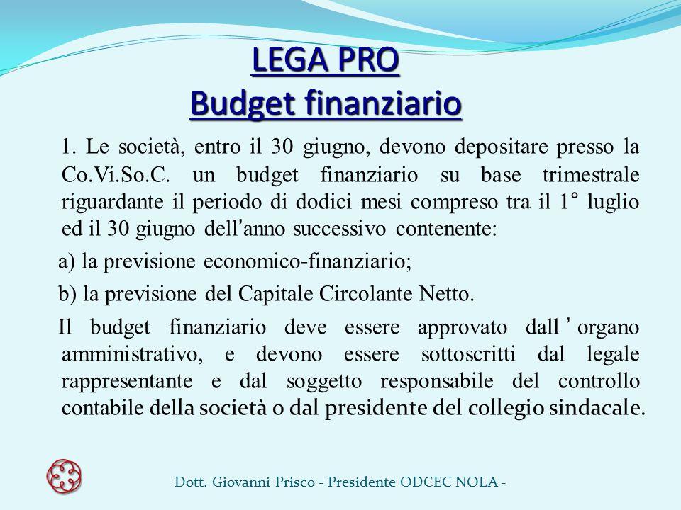 LEGA PRO Budget finanziario
