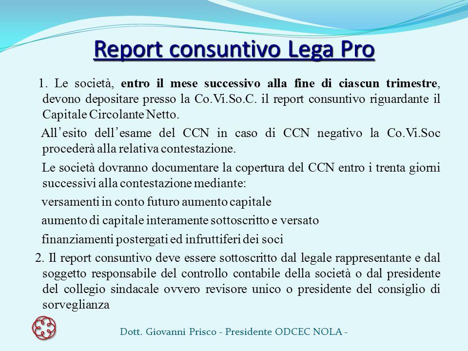 Report consuntivo Lega Pro