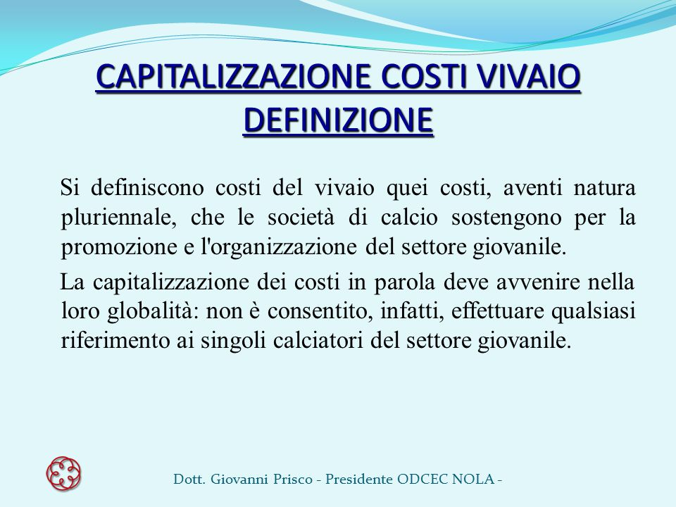 CAPITALIZZAZIONE COSTI VIVAIO DEFINIZIONE