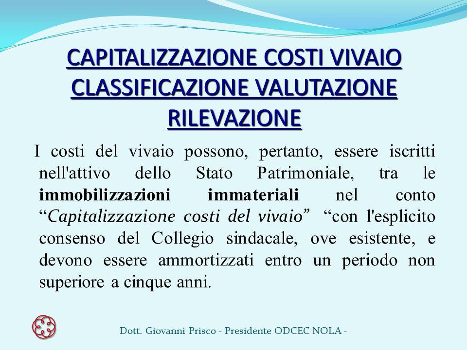 CAPITALIZZAZIONE COSTI VIVAIO CLASSIFICAZIONE VALUTAZIONE RILEVAZIONE