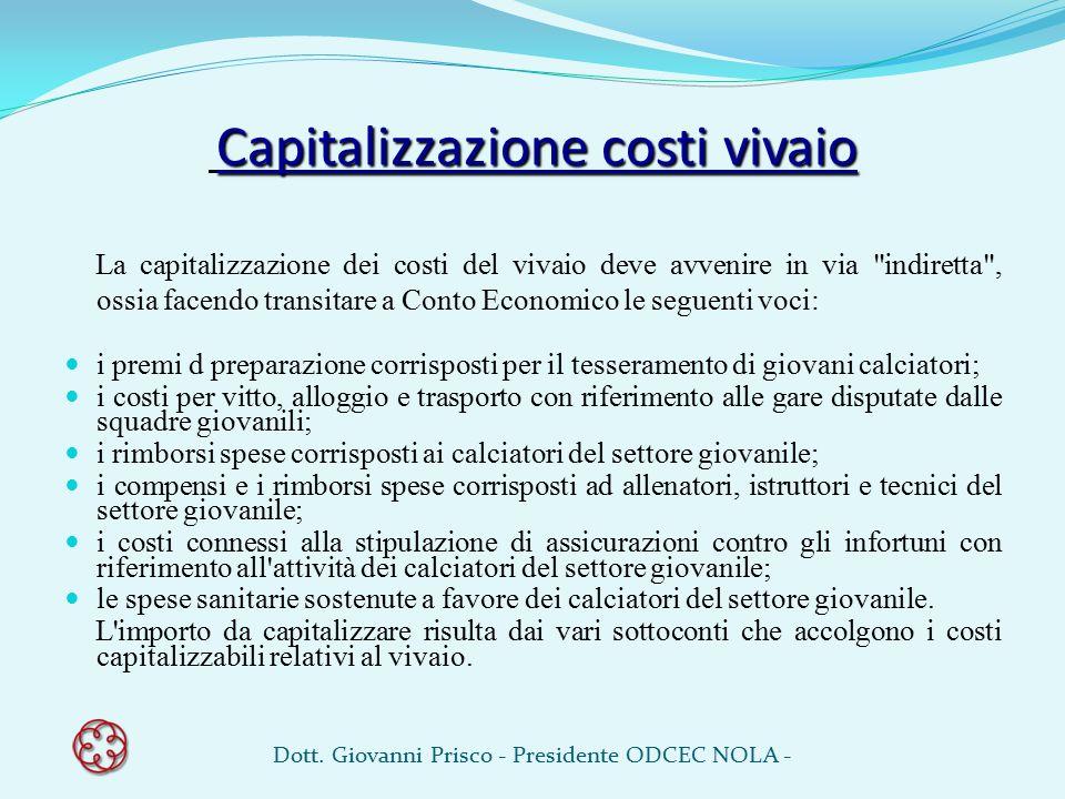 Capitalizzazione costi vivaio