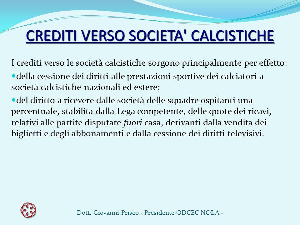 CREDITI VERSO SOCIETA CALCISTICHE