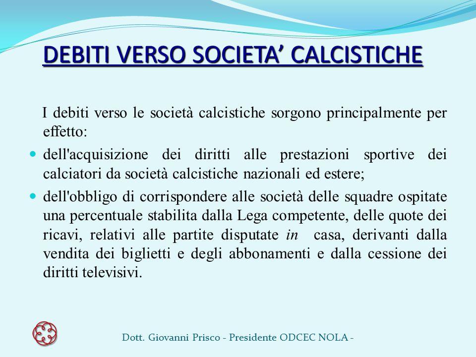 DEBITI VERSO SOCIETA' CALCISTICHE