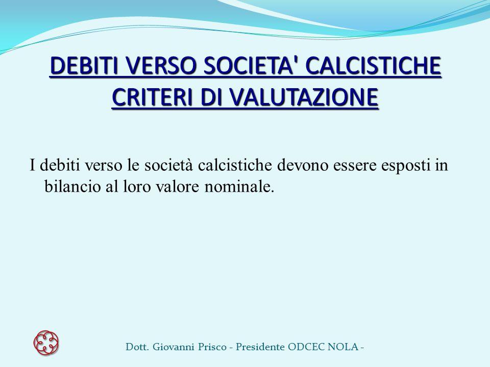 DEBITI VERSO SOCIETA CALCISTICHE CRITERI DI VALUTAZIONE