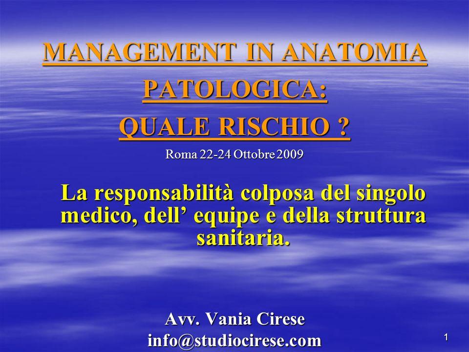 MANAGEMENT IN ANATOMIA PATOLOGICA: QUALE RISCHIO