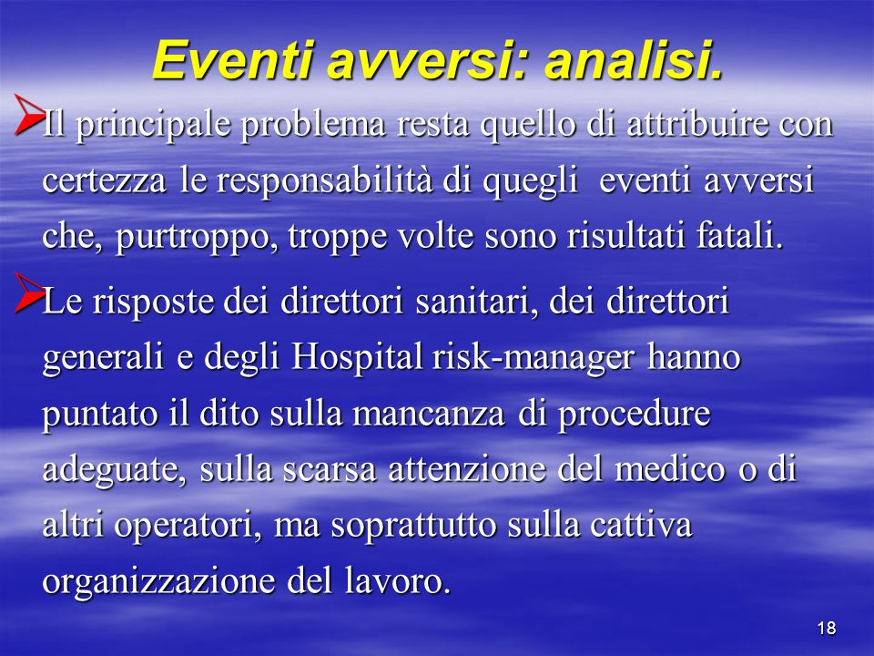 Eventi avversi: analisi.