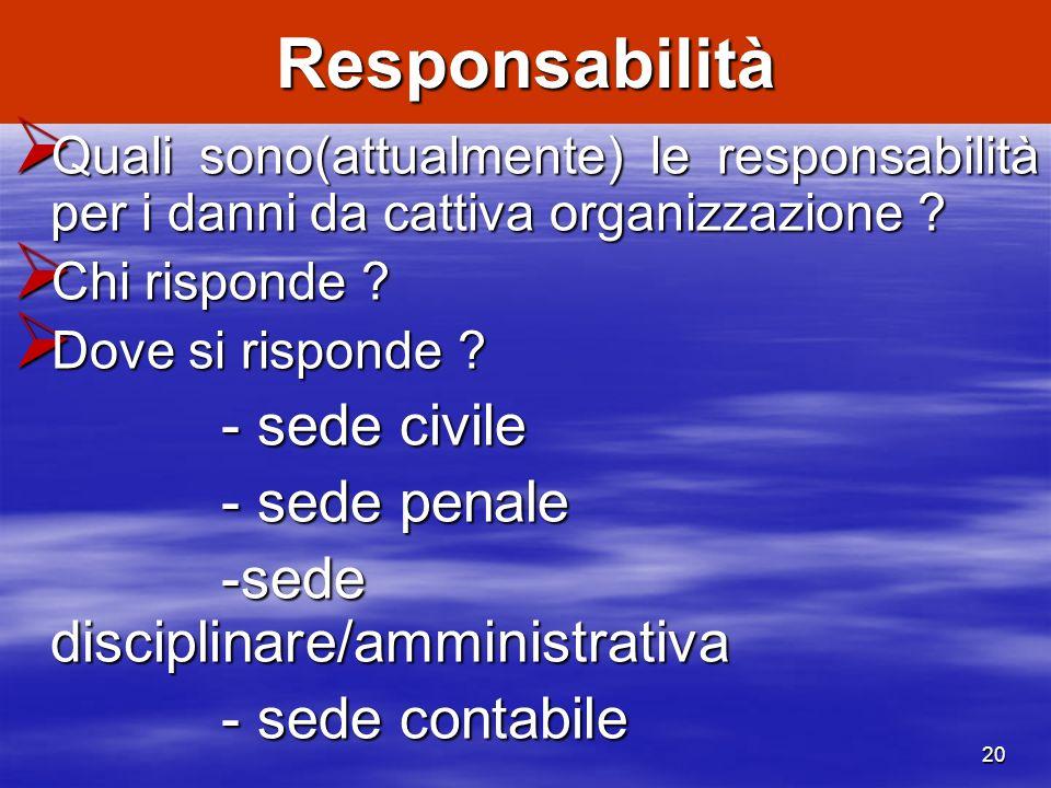 Responsabilità - sede penale -sede disciplinare/amministrativa