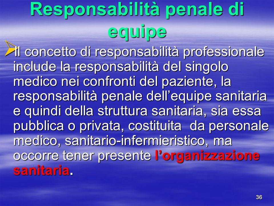Responsabilità penale di equipe