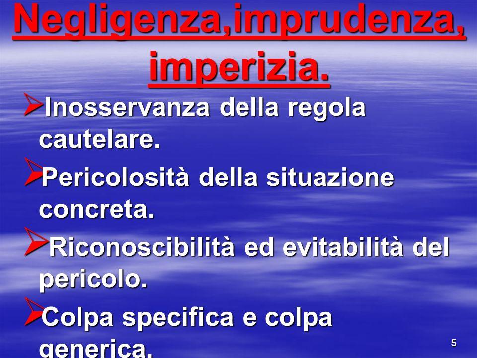 Negligenza,imprudenza, imperizia.