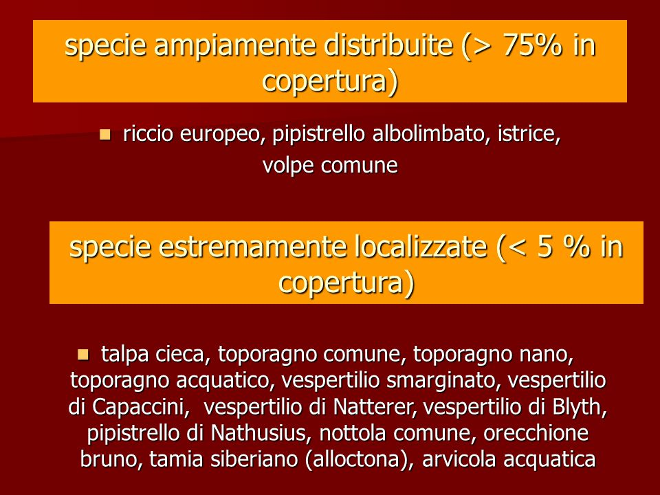 specie ampiamente distribuite (> 75% in copertura)