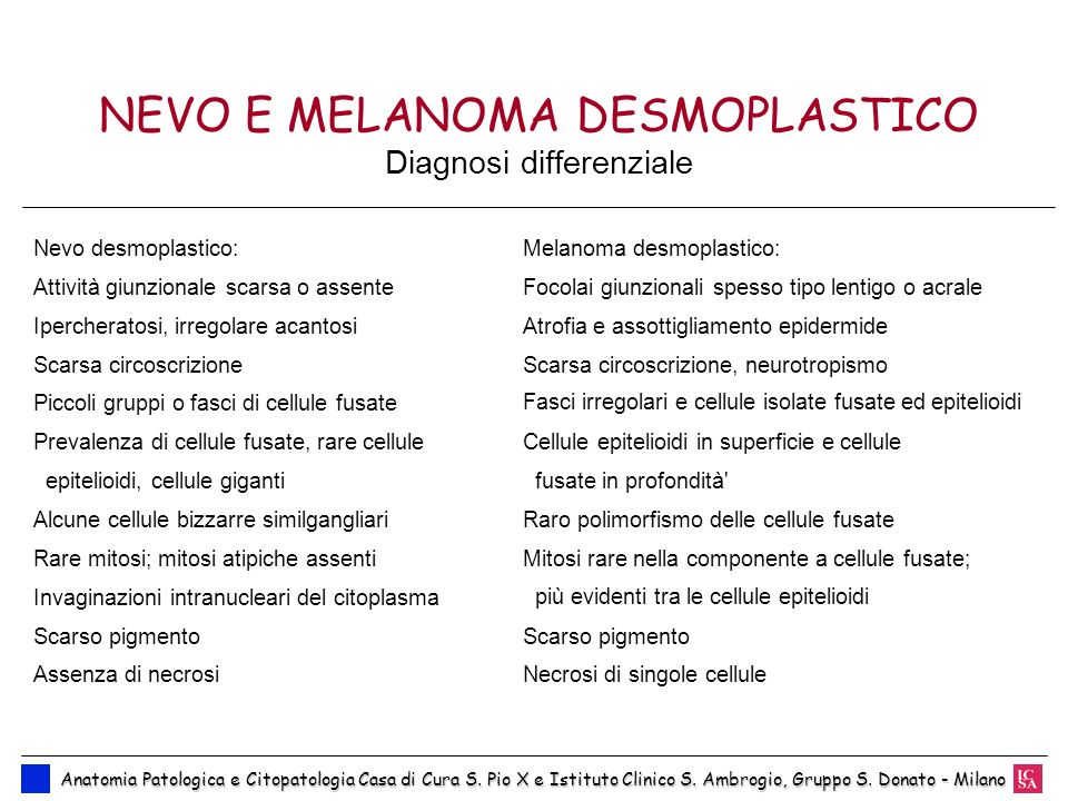 NEVO E MELANOMA DESMOPLASTICO Diagnosi differenziale
