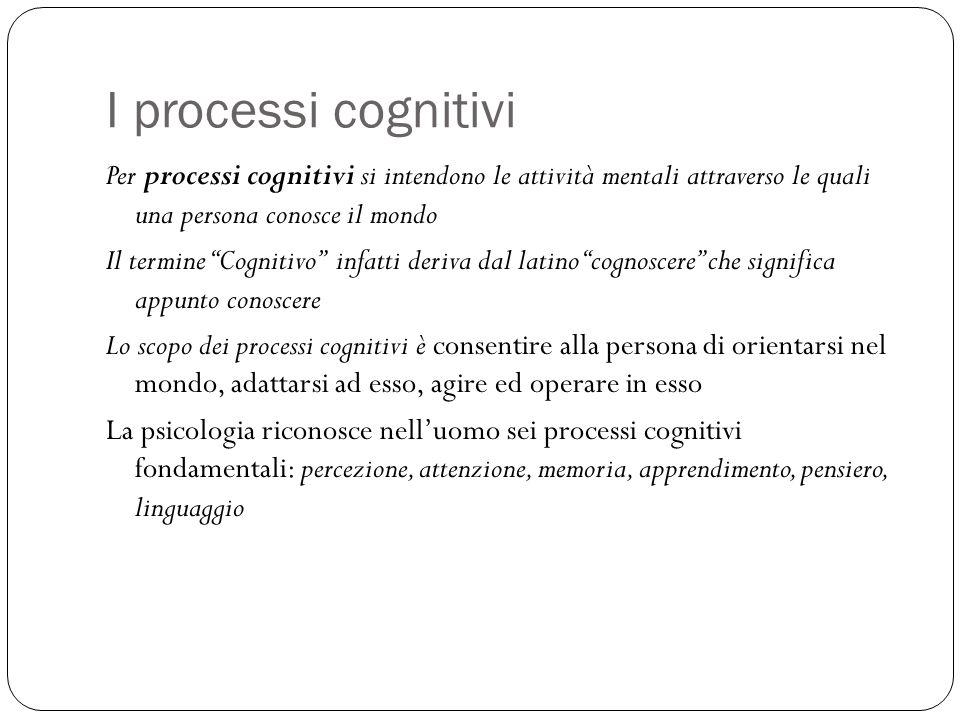 I processi cognitivi Per processi cognitivi si intendono le attività mentali attraverso le quali una persona conosce il mondo.