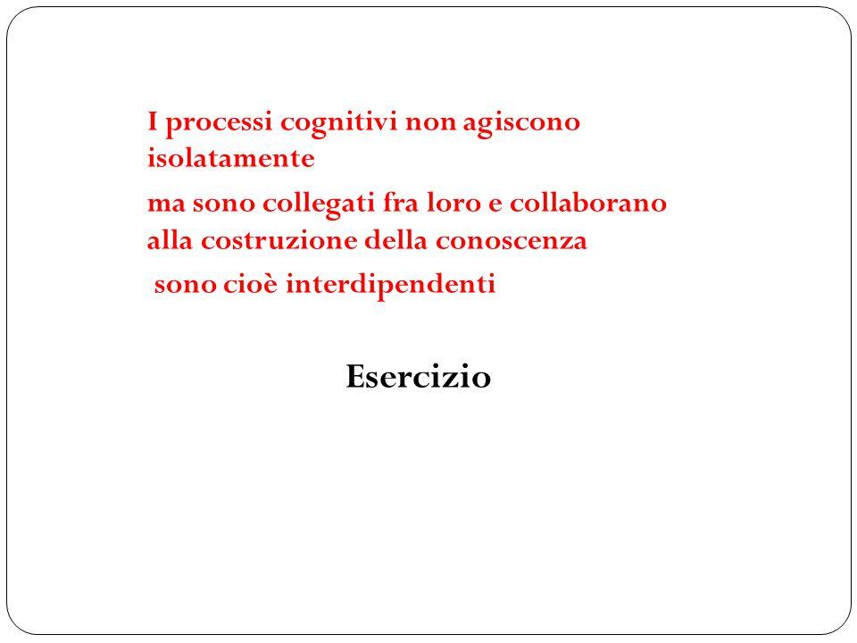Esercizio I processi cognitivi non agiscono isolatamente