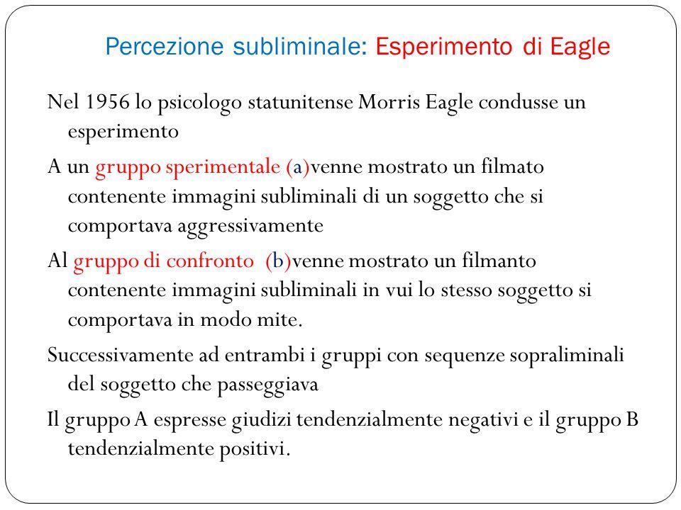 Percezione subliminale: Esperimento di Eagle