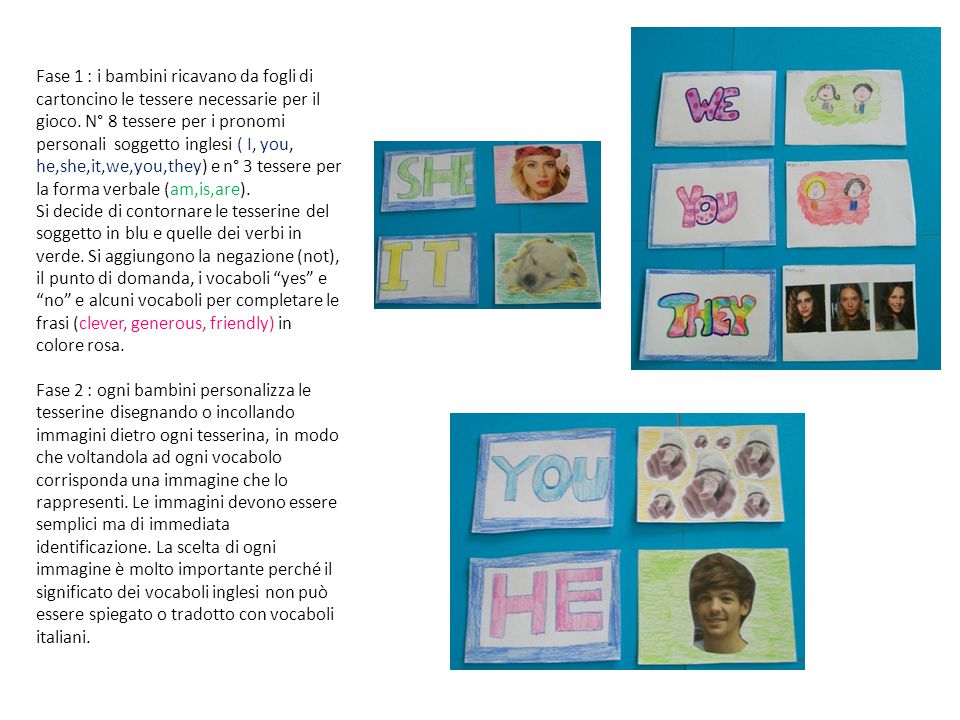 Fase 1 : i bambini ricavano da fogli di cartoncino le tessere necessarie per il gioco. N° 8 tessere per i pronomi personali soggetto inglesi ( I, you, he,she,it,we,you,they) e n° 3 tessere per la forma verbale (am,is,are).