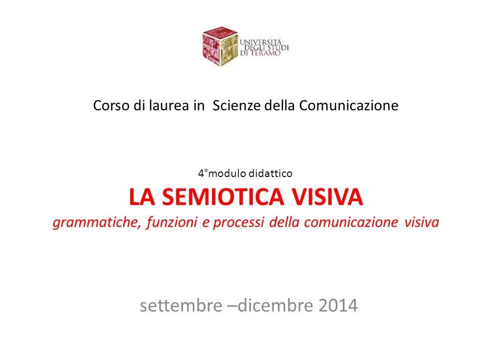 Corso di laurea in Scienze della Comunicazione 4°modulo didattico LA SEMIOTICA VISIVA grammatiche, funzioni e processi della comunicazione visiva