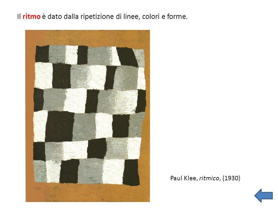 Il ritmo è dato dalla ripetizione di linee, colori e forme.