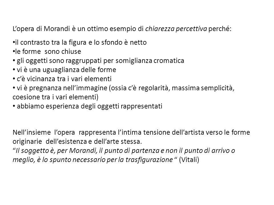L'opera di Morandi è un ottimo esempio di chiarezza percettiva perché: