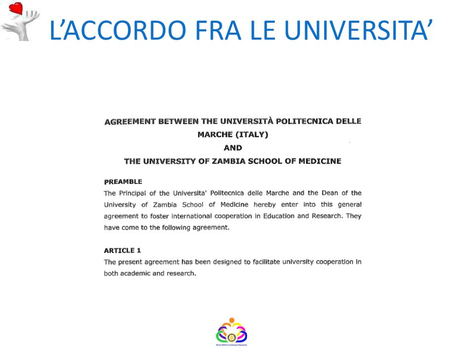 L'ACCORDO FRA LE UNIVERSITA'